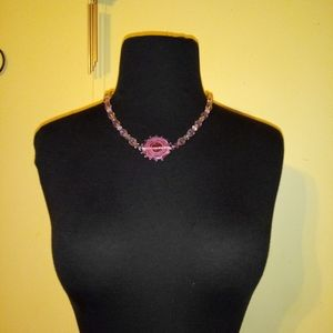 Sterling silver  with crystal and glass necklace